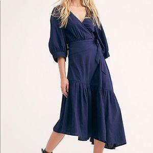 Free People Don't Mind If I Do Midi Navy Dress
